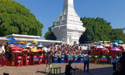 RAMAI : Ratusan siswa dari 15 Sekolah Dasar (SD) saat mengikuti Kuis Siswa Indonesia Cerdas Berkarakter, bertempat di Gesibu Banyuwangi, Sabtu (5/10/2019) siang. (ras)