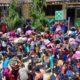 Siswa SDN 4 Pulau Merah dan SDN 8 Pancer saat mengikuti simulasi tanggap bencana, yang dilaksanakan UNEJ, PT BSI dan Korwilkersatdik Kecamatan Pesanggaran, Sabtu (16/11/2019) siang. (tut)